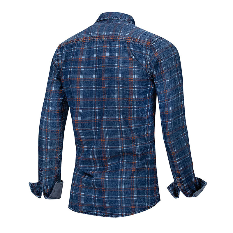 Slim Fit Plaid Paisley Shirt Navy