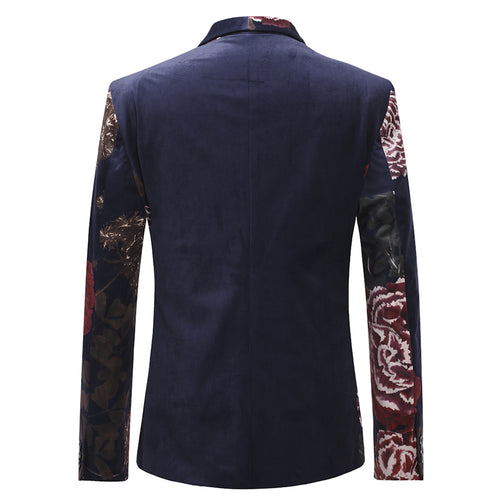 Floral Navy Jacket Slim Fit Print Casual Blazer
