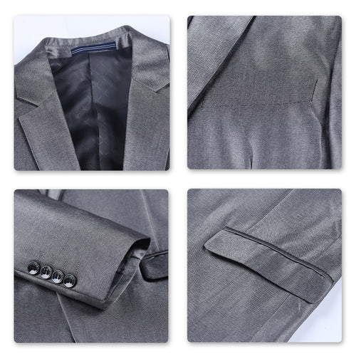 Two Piece Silver Suit One Button Suit