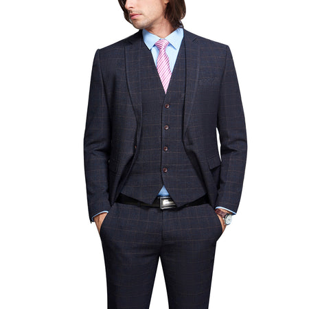 3-Piece Slim Fit Plaid Modern Suit 2 Colors