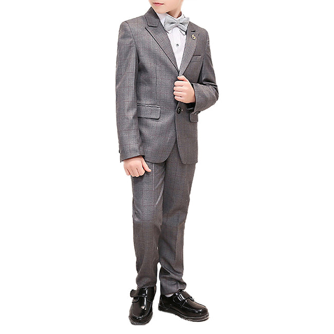 Boy's 3-Piece Plaid Suit Grey