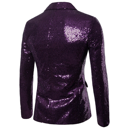 Purple Shiny Sequin Jacket Party Tuxedo Blazer