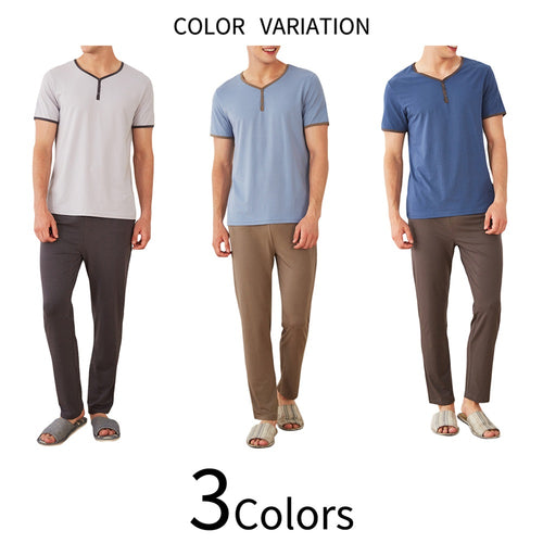 V-Neck Lounge Shirt With Long Sleepwear Pants 3 Colors