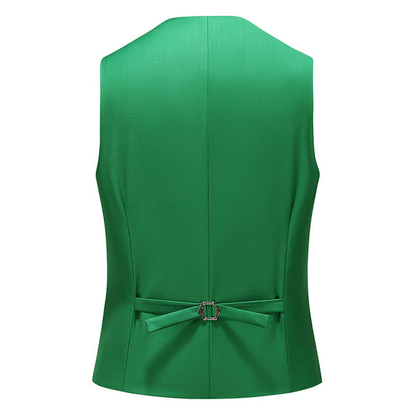 Slim Fit Single-Breasted Casual Vest Green