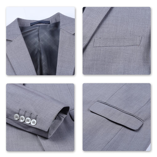 Two Piece LightGrey Suit One Button Suit