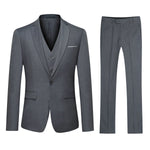 3-Piece Classic One Button Dove Grey Suit