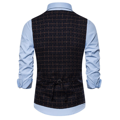 Slim Fit Plaid Double Breasted Vest Navy