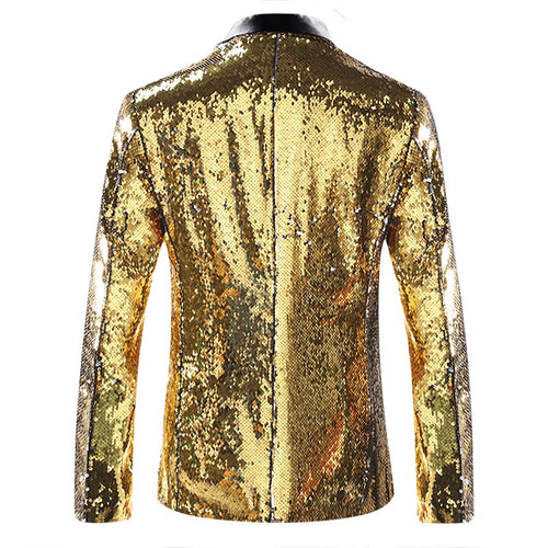 Slim Fit Sequin Satin Gold Casual Blazer