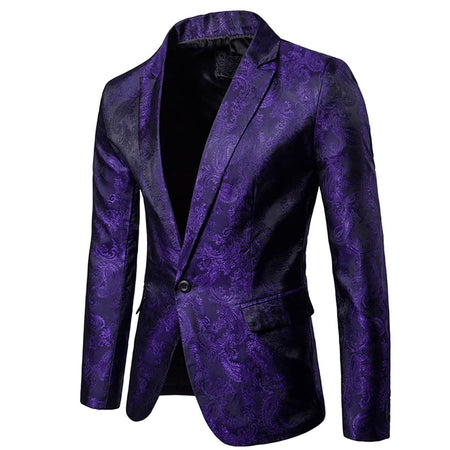 Slim Fit Shiny Paisley Blazer Gold