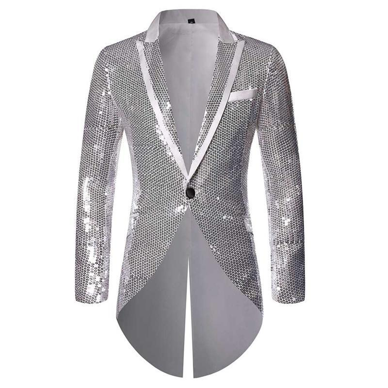 Silver Slim Fit Sequin Swallowtail Coat