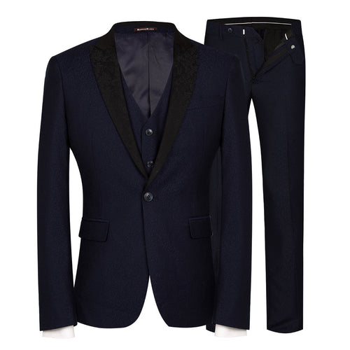 3-Piece Slim Fit Single Breasted Suit 2 Colors - Cloudstyle