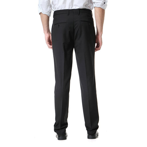 Black Relaxed Flat Front Straight-Fit Suit Dress Pant