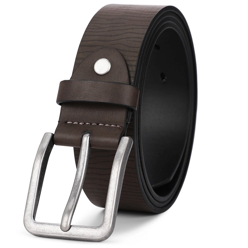Strip Brown Cracked Needle Buckle Belt