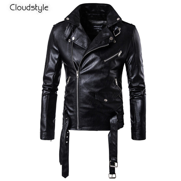 Slim Fit Leather Jacket Black