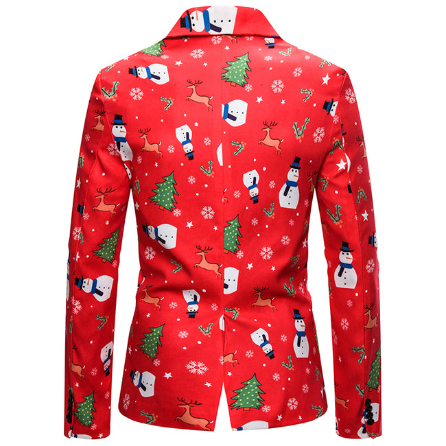 Slim Fit Snowman Print Christmas Blazer Red