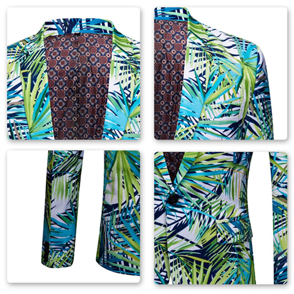 2-Piece Slim Fit Casual Leaf Print Suit Green