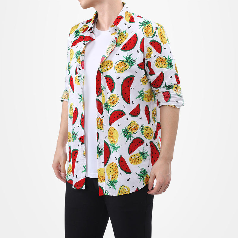 Slim Fit Fruits Print Shirt White