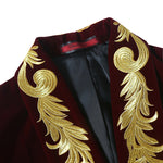 Dark Red Velveteen Blazer Embroidered Blazer
