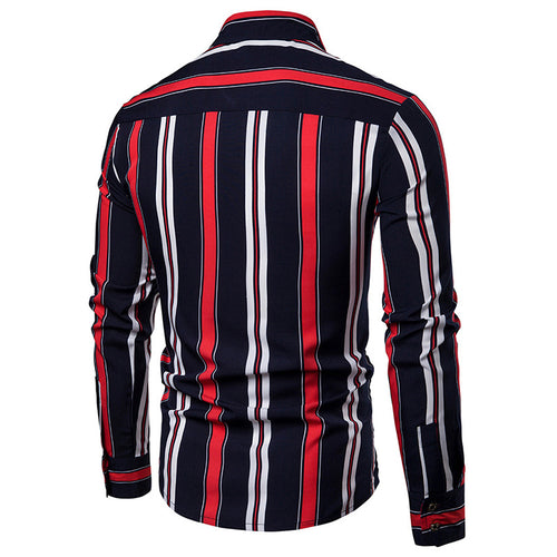 Slim Fit Vertical Striped Shirt Navy