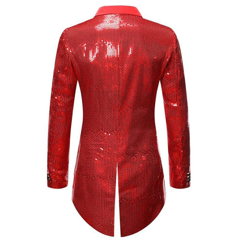 Red Slim Fit Sequin Swallowtail Coat