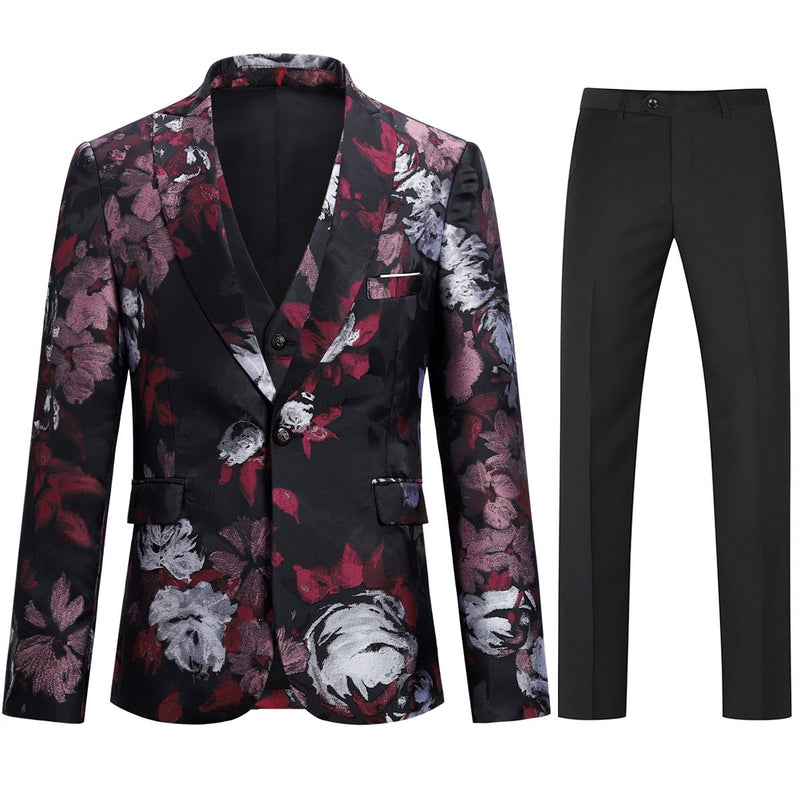 Allover Floral Print Suit 3-Piece Maroon Suit