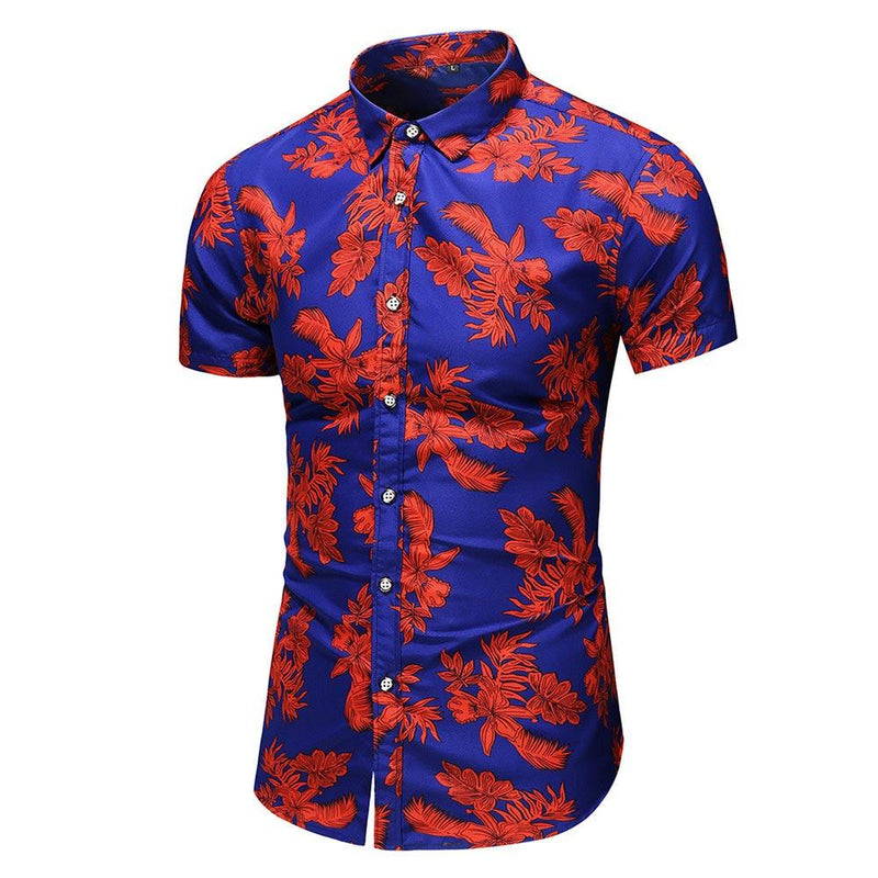 Slim Fit Ventilate Floral Shirt Red