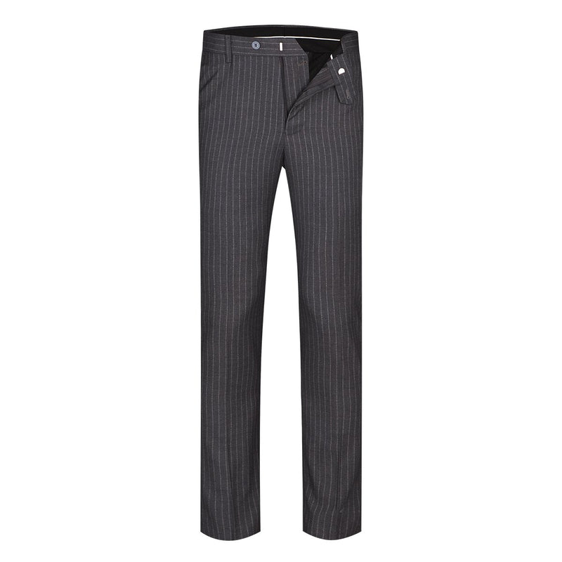 3-Piece Slim Fit Single Breasted Stripe Suit Grey - Cloudstyle