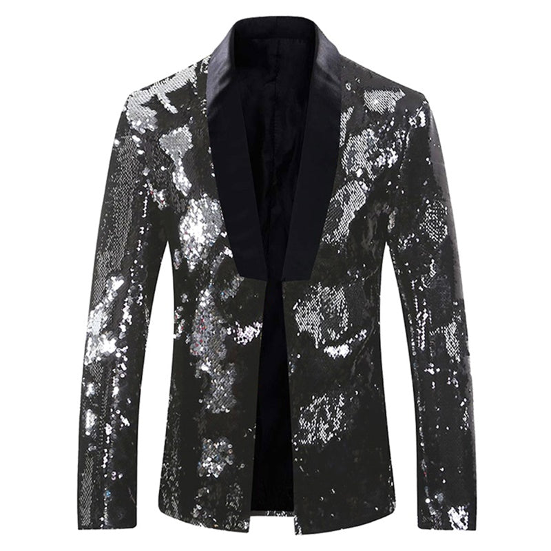 Black Buttonless Reversible Sequins Satin Collar Blazer