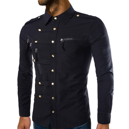 Slim Fit Zipped Pocket Shirts Black