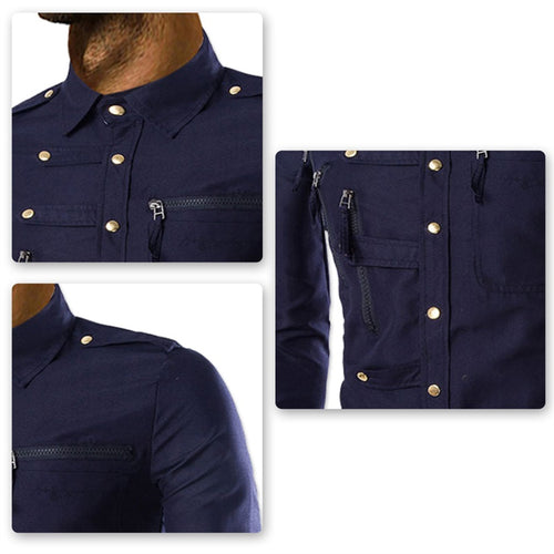 Slim Fit Zipped Pocket Shirts Navy