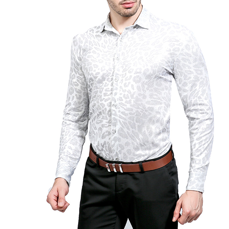 Regular Fit Silver Snakeskin Print Shirt