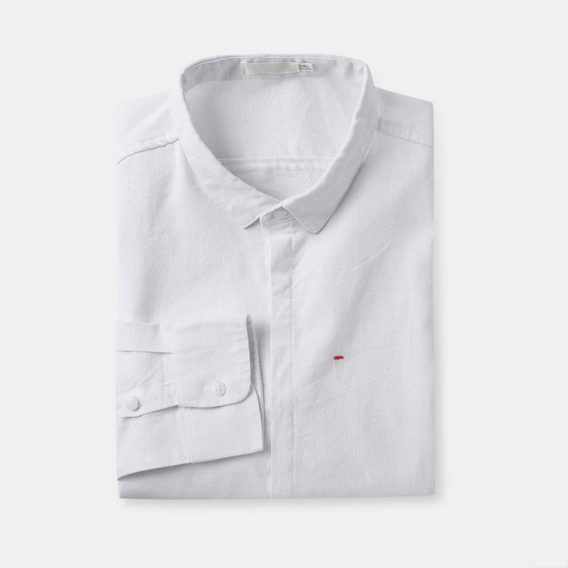 White Slim Fit Solid Linen Casual Shirt