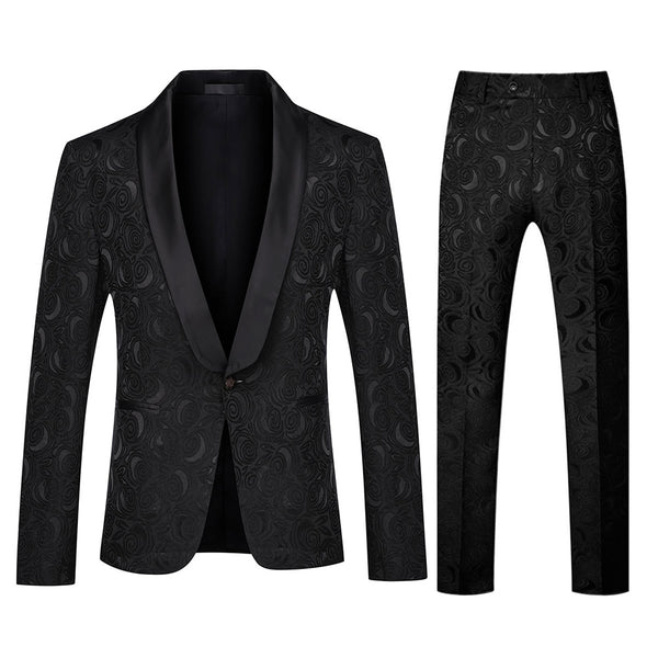 Slim Fit Paisley Suit Two Piece Black Suit