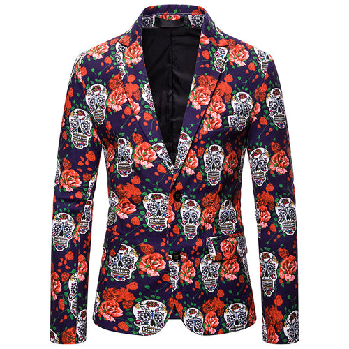 Slim Fit Skull Print Christmas Blazer Navy