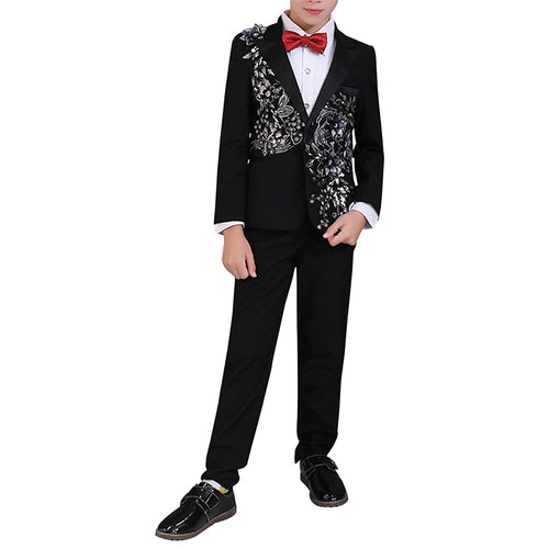 Boy's 2-Piece Sequin Stylish Suit Black