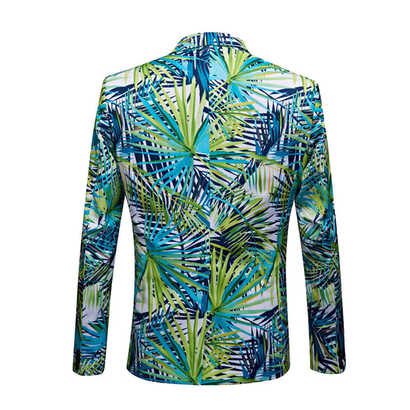 2-Piece Slim Fit Casual Leaf Print Green Suit