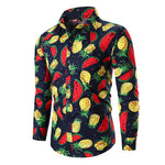 Slim Fit Fruits Print Shirt Navy