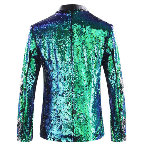 Bluish Green Buttonless Reversible Sequins Satin Collar Blazer