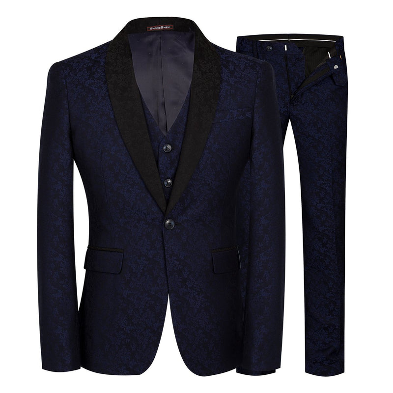 3-Piece Shawl Collar Navy Suit Skinny Paisley Suit
