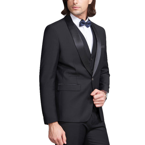 3-Piece Slim Fit Casual Suit Balck