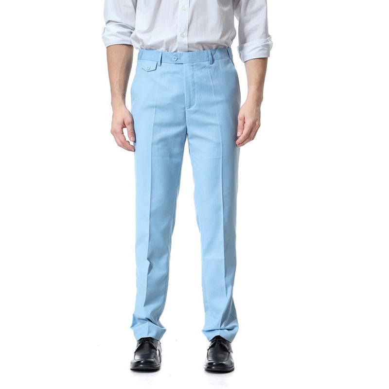 Light Blue Relaxed Flat Front Straight-Fit Suit Dress Pant