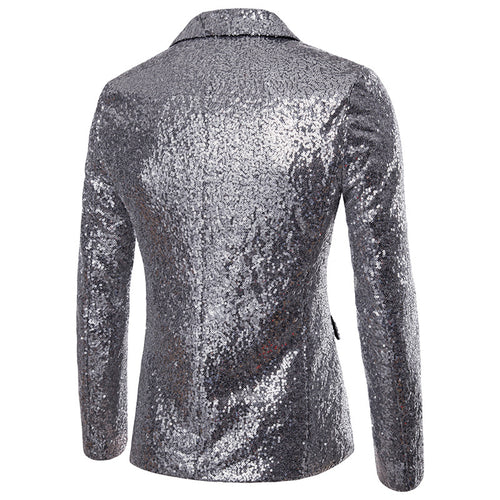 Silver Slim Fit Shiny Sequin Jacket