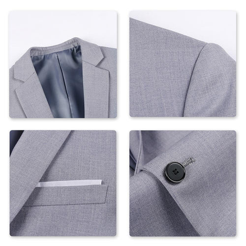 3-Piece Slim Fit One Button Fashion Gray Suit