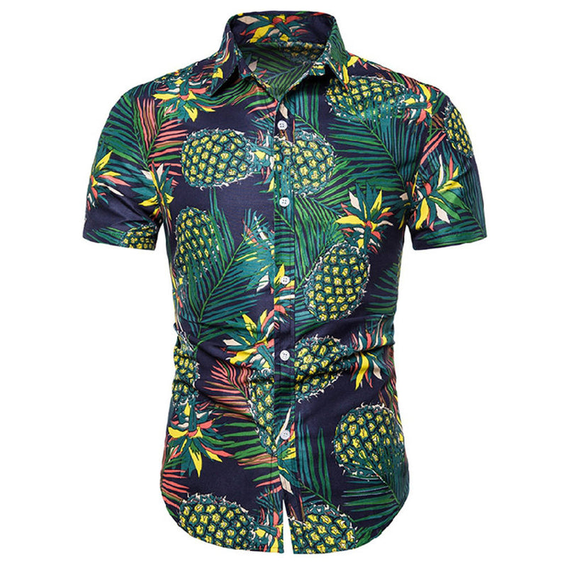 Slim Fit Pineapple Print DarkGreen Shirt