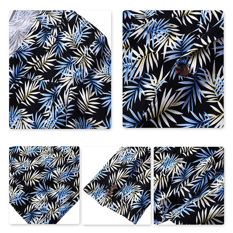 Palm Leaf Print Suit Summer Shirt And Print Shorts