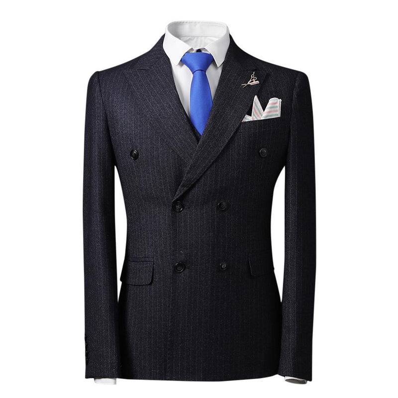 Stripe Suit 3-Piece Double Breasted Obsidian Black Suit