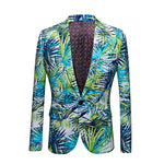 Slim Fit Leaf Print Green Casual Blazer