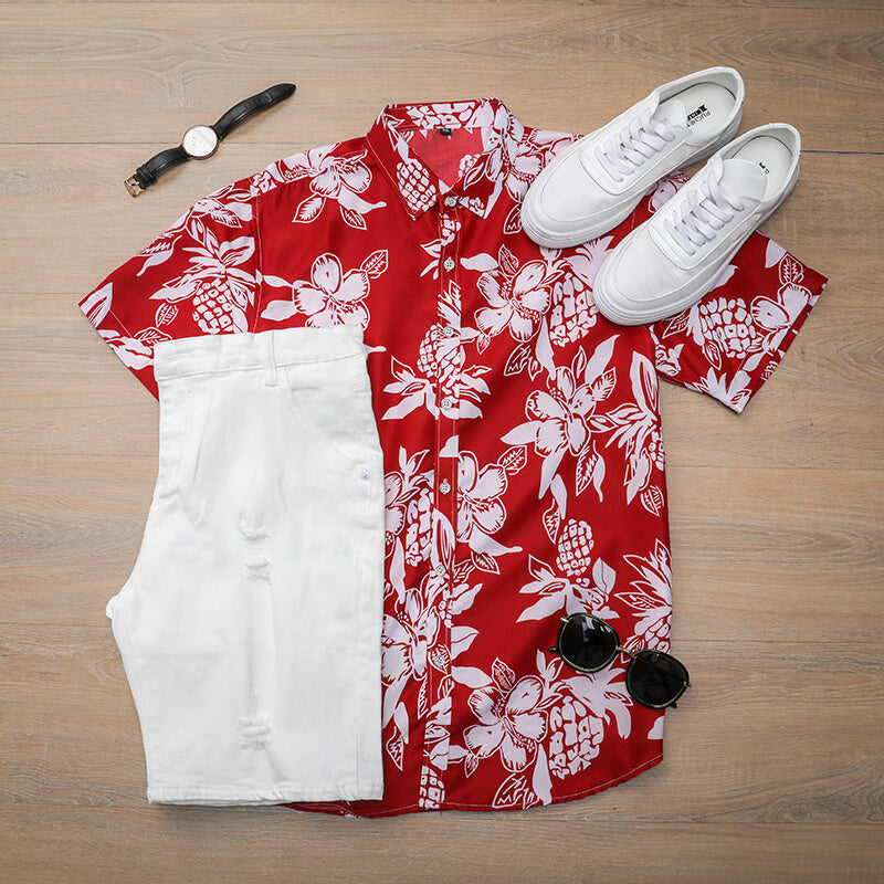 Red Printed Summer Shirt For Men