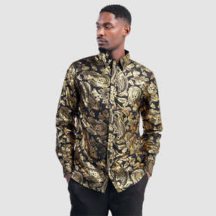 Gilding Printed Black Long Sleeve Shirt