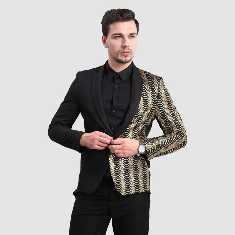 Black Slim Fit Half-Sequin Blazer